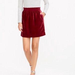 J crew factory red velvet mini skirt